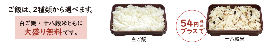 白ご飯・十八穀米説明